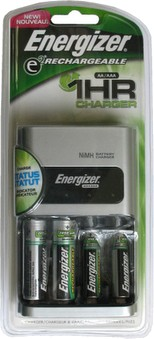 Energizer 1 Hour, 4 AA & AAA NiMH Battery Charger, with 2 AA, 2 AAA Batteries Included  # CH1HRWB-4