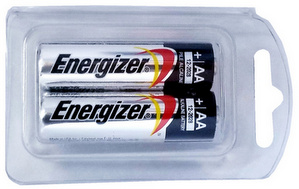Energizer E91AA Alkaline 2 Pack, Made in USA in Reusable Plastic Pack