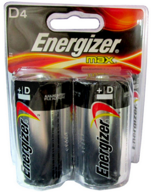 Energizer Max E95 D Size Alkaline Battery 4 Pack Blister Card