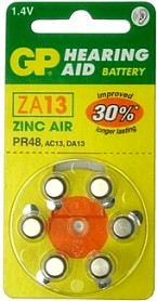 "GP ZA13 (PR48) Hearing Aid Battery wheel of 6, ""3-2013"" Date"