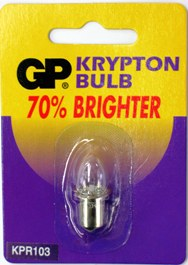 GP KPR103 REPLACEMENT KRYPTON BULB L004.  FOR USE WITH 3 D SIZE BATTERIES.