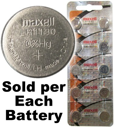 Maxell Hologram LR1130 (189, LR54, AG10) Alkaline Button Size Battery, Card of 10