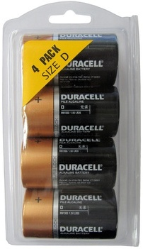 Duracell MN1300 D Size 4 Pack Duralock - in Reusable Plastic Pack