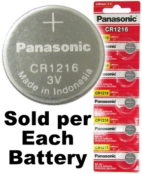 Panasonic CR1216 3V Lithium Coin Size Battery, On Tear Strip