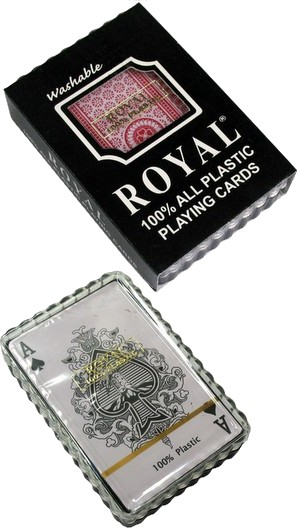 Royal 100% All Plastic, Single Deck, Bridge Size, Playing Cards in Plastic Box.  3 Assorted Designs,