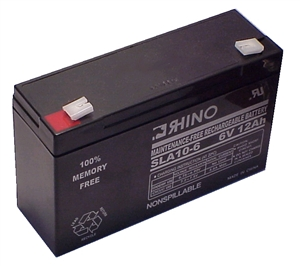 SLA10-6, Rhino 6V 12.0AH Sealed Lead Acid Rechargeable Battery