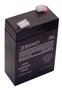 SLA2-8-6, Rhino 6V 2.8AH Sealed Lead Acid Rechargeable Battery