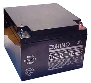 SLA24-12, Rhino 12V 26Ah Sealed Lead Acid Rechargeable Battery
