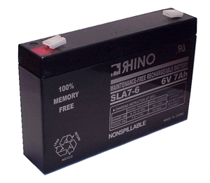 SLA7-6, Rhino 6V 7Ah Sealed Lead Acid Rechargeable Battery