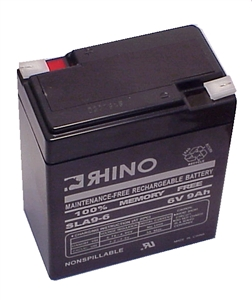 SLA9-6, Rhino 6V 9Ah Sealed Lead Acid Rechargeable Battery