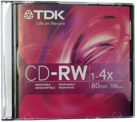 TDK CD-RW 80 Minute 700MB 4x ReWritable Data With Slim Jewel Case