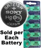 Sony Batteries SR721SW - 362 Silver Oxide Watch Battery - On Tear Strip
