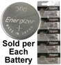 Energizer Batteries 365 (366, SR1116W, SR1116SW) Silver Oxide Watch Battery. On Tear Strip