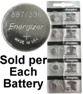 Energizer 397 / 396 (SR726SW, SR726W) Silver Oxide Watch Battery. On Tear Strip