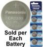 Panasonic CR2330 3.0 Volt Lithium Coin Cell, On Tear Strip
