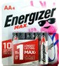 Energizer USA Max Batteries E91 AA Alkaline Battery 4 Pack Carded