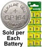"GP 164 ( LR620, AG1) Alkaline Button Size Battery, Card Marked ""July 2013"""
