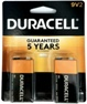 Duracell Duralock MN1604B2 9 Volt Size Battery 2 pack - Made in USA