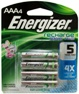 Energizer NH12 1.2V, 700 mAh, NiMH AAA Pre-Charged Rechargeable Battery, 4 Pack