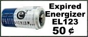 Expired EL123A Batteries for Ten Cents
