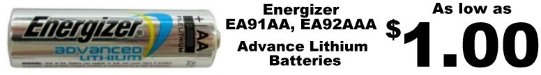 Energizer Lithium EA91 AA and EA91 AAA - as low as $1.00