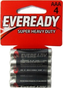 Eveready 1212-4AAA Super Heavy Duty Batteries: AAA Battery 4 pack - Dated 12-2019 AAA