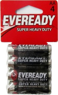 Eveready 1215-4 AA Super Heavy Duty Batteries: AA Battery 4 pack - Dated 12-2019 AA