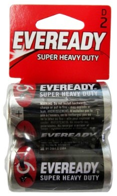 Eveready 1250-2D Super Heavy Duty Batteries: D Size Battery 2 pack - Dated 2021