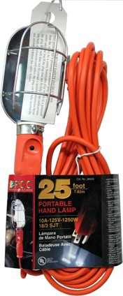 PCC 25 Foot Outdoor Orange Portable Hand Lamp