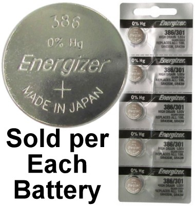 Energizer 386/301 (186, SR43SW, SR43W) Silver Oxide Multi Drain Watch Battery. On Tear Strip