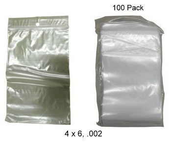 "Storage Plastic Zip Bags 4"" x 6"", .002 gauge, 100 ct"