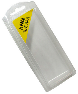 Plastic Clamshell with Label for 24 AAA Batteries - 1500 per Carton