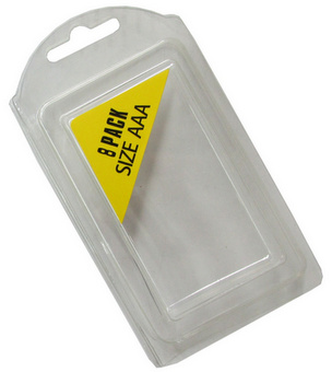 Plastic Clamshell with Label for 8 AAA Batteries - 1500 per Carton