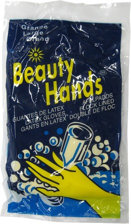 Beauty Hands Dish-Washing Rubber/Latex Gloves, Large Size