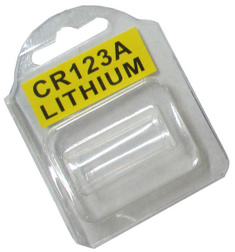 Plastic Clamshell with Label for One CR123A Battery - 2250 per Carton