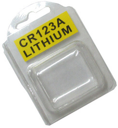 Plastic Clamshell with Label for Two CR123A Batteries - 3600 per Carton