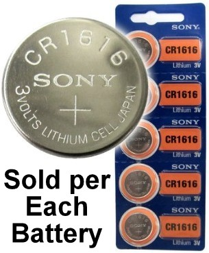 Sony CR1616 3 Volt Lithium Coin Battery On Tear Strip, Exp. 2028