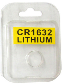 Plastic Clamshell with Label for One CR1632 Battery - 3200 per Carton