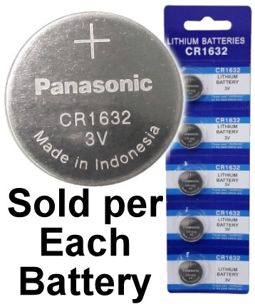 Panasonic Blue CR1632, Lithium Coin Size Battery, on Blue Tear Strip
