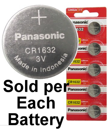 Panasonic Red CR1632, Lithium Coin Size Battery, on Red Tear Strip
