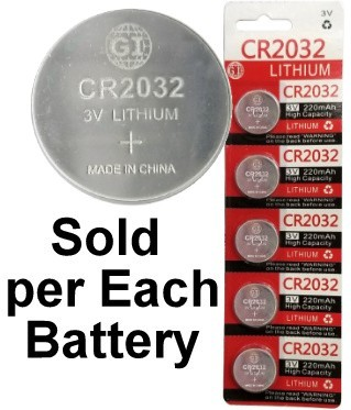 GI Batteries CR2032 Coin Lithium Battery, On Tear Strip, 220mAh