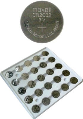 Maxell CR2032 3 Volt Coin Lithium Battery Tray Pack