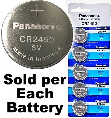 Panasonic CR2450, Blue 620mAh, Lithium Coin Battery, on Tear Strip, Exp. 06 - 2028