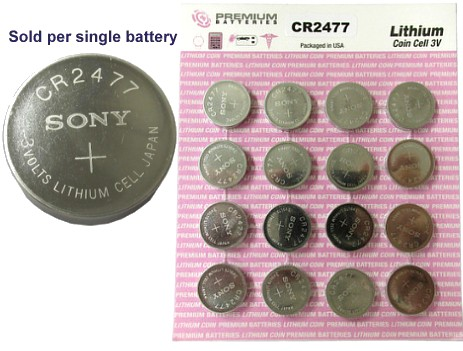 Sony CR2477 3.0 Volt, 1000mAh, Lithium Coin Size Battery