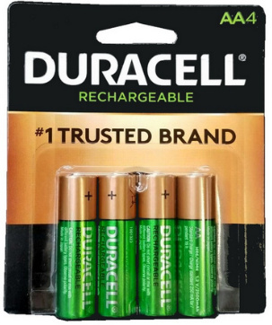 Duracell DX1500 2500 mAh NiMH AA Rechargeable Battery 4 Pack