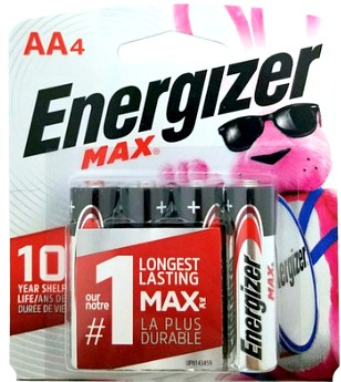 Energizer USA Batteries E91 AA Alkaline Battery 4 Pack Carded AA