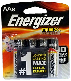 Energizer Max Batteries E91 AA Alkaline Battery 8 Pack Carded AA