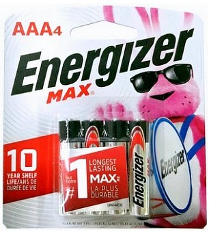 Energizer USA Max Batteries E92 AAA Alkaline Battery 4 Pack Carded AAA