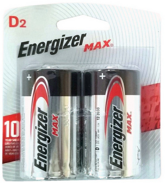 Energizer USA Max Batteries E95 D Size Alkaline Battery 2 Pack Carded