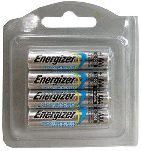 Energizer EA92AAA Advance Lithium 4 Pack, in Reusable Clamshell AAA